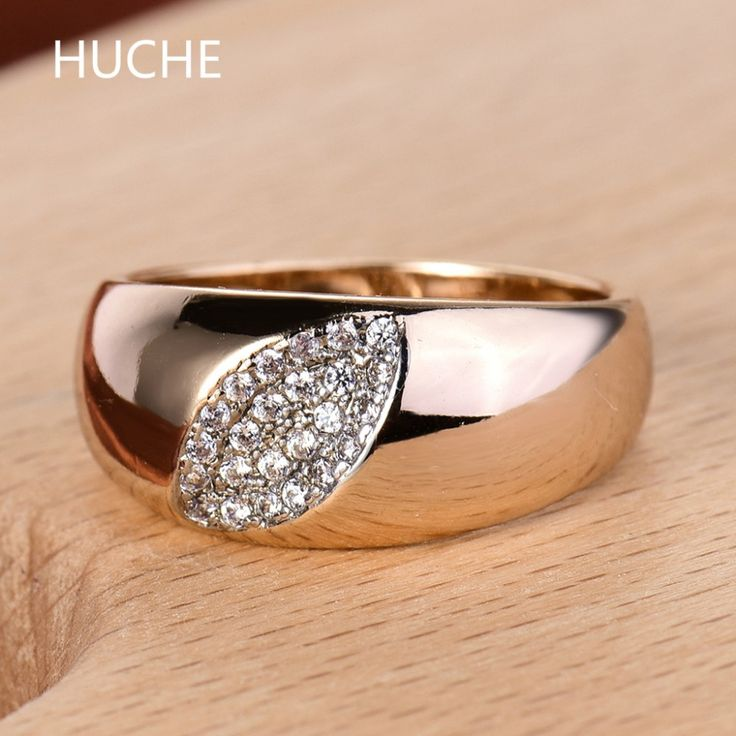 HUCHE Vintage Gold-Color Ring Female Leaf 10mm Wide Clear Cubic Zirconia Rings for Women and Men Anelli Bague Femme New R578 #Affiliate
