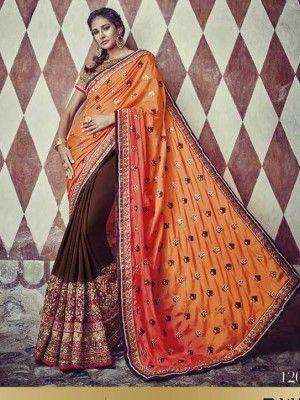 Heavy Designer Pure Georgette Hand Work Saree With Pure Raw Silk Blouse @ 6999/-