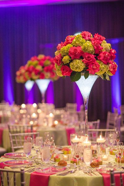 do either low centerpieces or super high centerpieces so it doesnt affect people talking to each other. kind of love how these are in a martini glass look