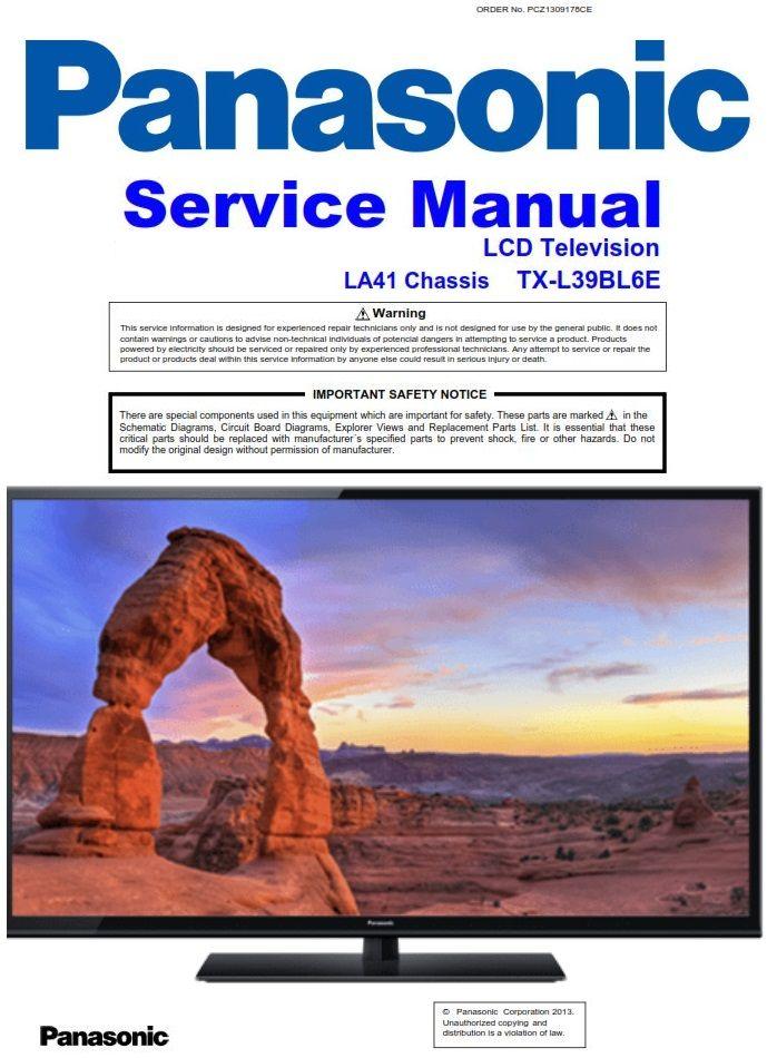 Panasonic Tx L39bl6e Tv Service Manual And Repair Guide Schematics Tv Services Repair Guide Panasonic