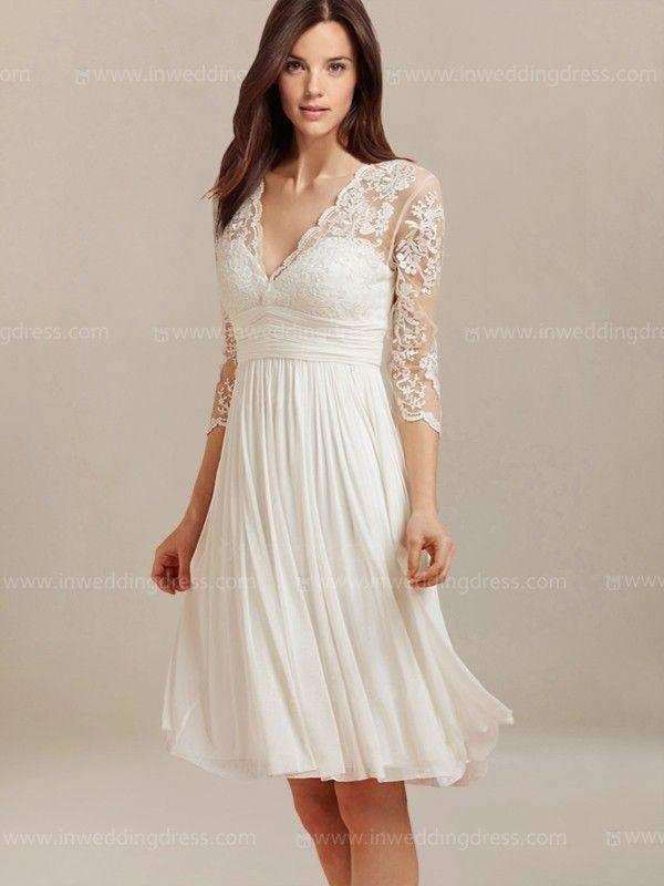 Short lovely wedding dress features in Tulle and Chiffon. The bodice is adorned with vintage lace with scalloped edge along the V-neckline. Lace sheer sleeves add glamor to the whole silhouette for a romantic gal looking. Back is zipper closure with keyhole nape.