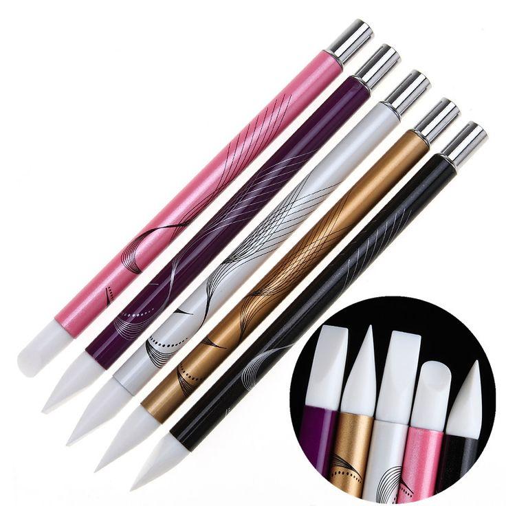 5Pcs Soft Silicone Nail Art design stamp Pen Brush Kit Carving Craft Pottery Sculpture UV Gel Building brushes Set DIY Tools