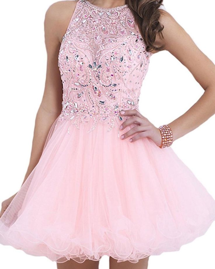 Cute pink tulle prom dress