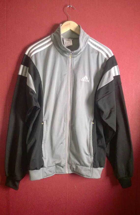Vintage 90s TrackJacket Adidas Grey Black VINTAGE 90s