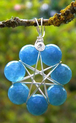☆ Elven Faerie Star Sea Blue Quartz Gemstone Pagan Magickal Ritual Adornment Pendant to Open Faerie Portals Tuatha de Danann :¦: Etsy Shop: MoonlitHerbals ☆