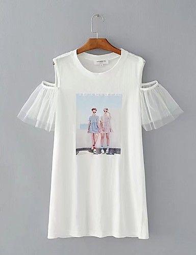 Feminino Camiseta Para Noite Casual Sensual Fofo Moda de Rua Verão Outono,Sólido Estampado Algodão Decote Redondo Manga CurtaFina Leve de 6108728 2017 por R$46,00