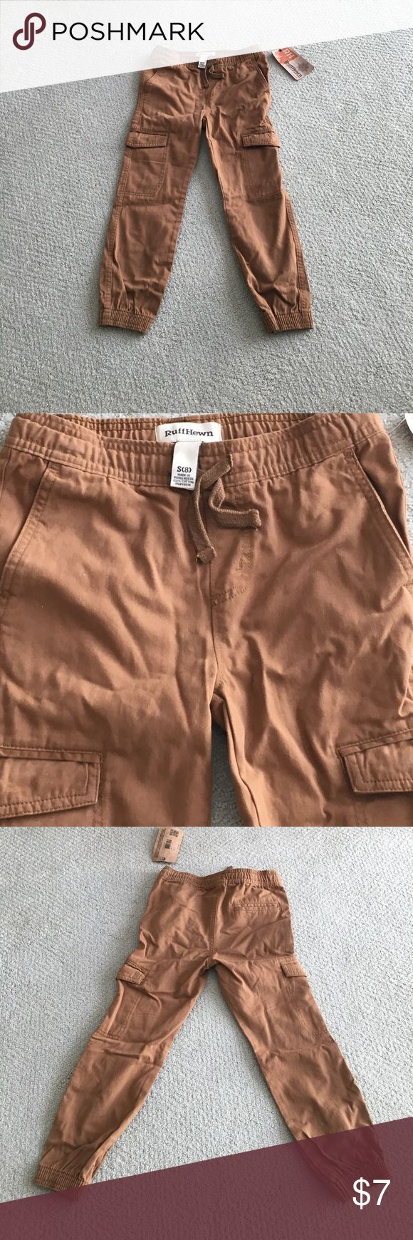 Boys Joggers Pants / Boys Cargo Pants Tobacco colored pants with elastic ankles and elastic drawstring waist. Durable. Never worn. Size S (8). Ruff Hewn Bottoms Sweatpants & Joggers