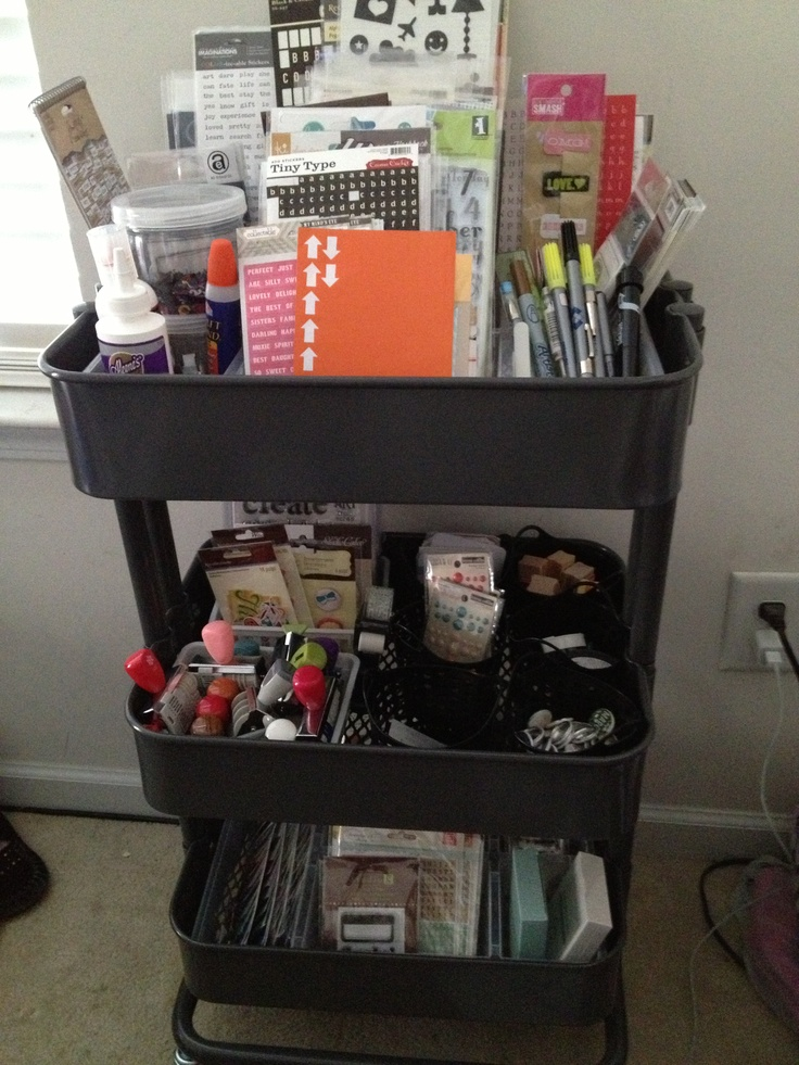 papercraft scrapbooking organization pinner says how i organize my raskog cart. Black Bedroom Furniture Sets. Home Design Ideas
