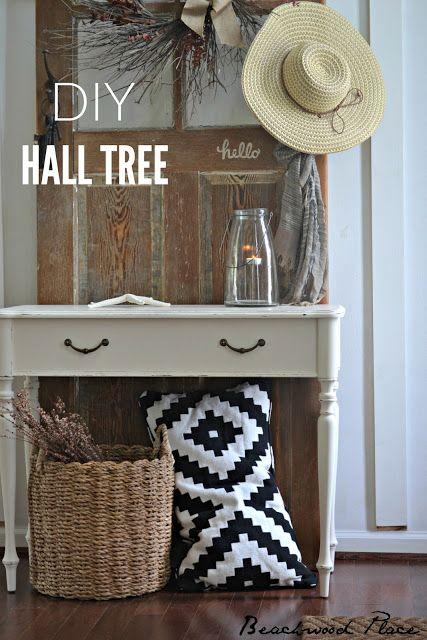 Beachwood Place #entryway #halltree #ikea #diy #console #table #door #olddoor #rustic #beach #coastal #hooks #foyer #design #interiordesign #magazine