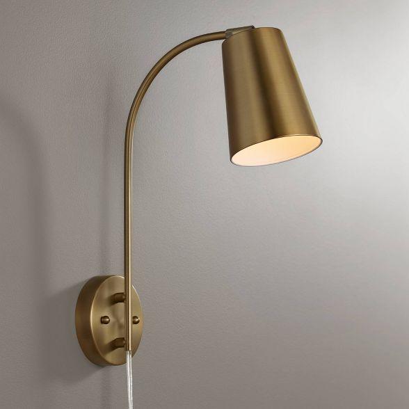 360 Lighting Modern Wall Lamp Warm Brass Plug In Light Fixture