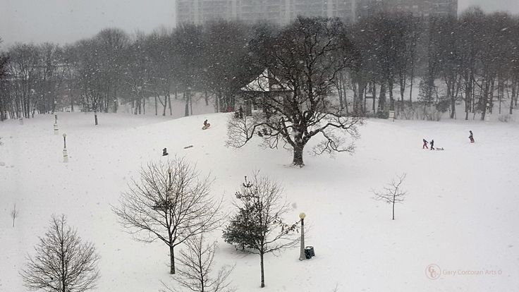 """The point of fun"" - This is a mobile phone photo of people sleighing down the Gazebo hill in a blustery winter afternoon within Macdonald Gardens park, Ottawa, ON, CAN."