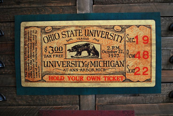 Set out to create a poster of a revived OSU Michigan ticket that I found in the wild.  Some of the details were missing from rips and tears, so I restored sections, cleaned up the type and re-imagined the color palette for the poster.  The final piece is 10x18 and one of two was auctioned off for a cancer research fund raiser.      Go Bucks!  By Keith Tatum