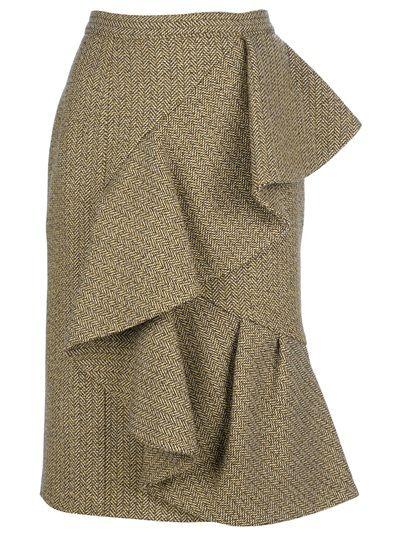 BURBERRY PRORSUM Ruffle Wool Skirt.