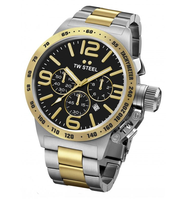 TW STEEL Canteen Style Chrono Two Tone Stainless Steel Bracelet CB43