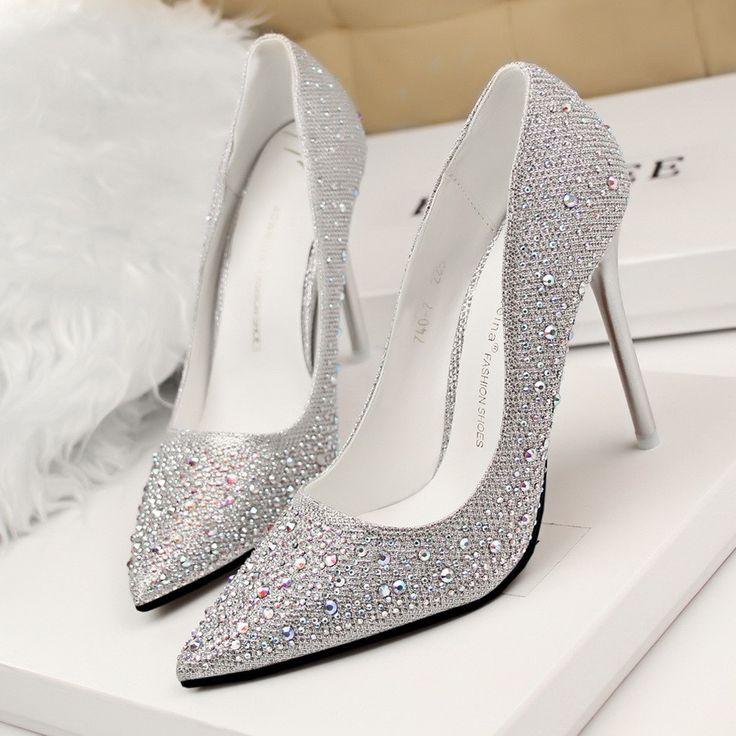 Wholesale Silver Rhinestone Wedding Shoes Platform Pumps Red Bottom High Heels Crystal Shoes www.Jexshop.com