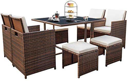 Peachy Amazon Com Devoko 9 Pieces Patio Dining Sets Outdoor Space Interior Design Ideas Inamawefileorg