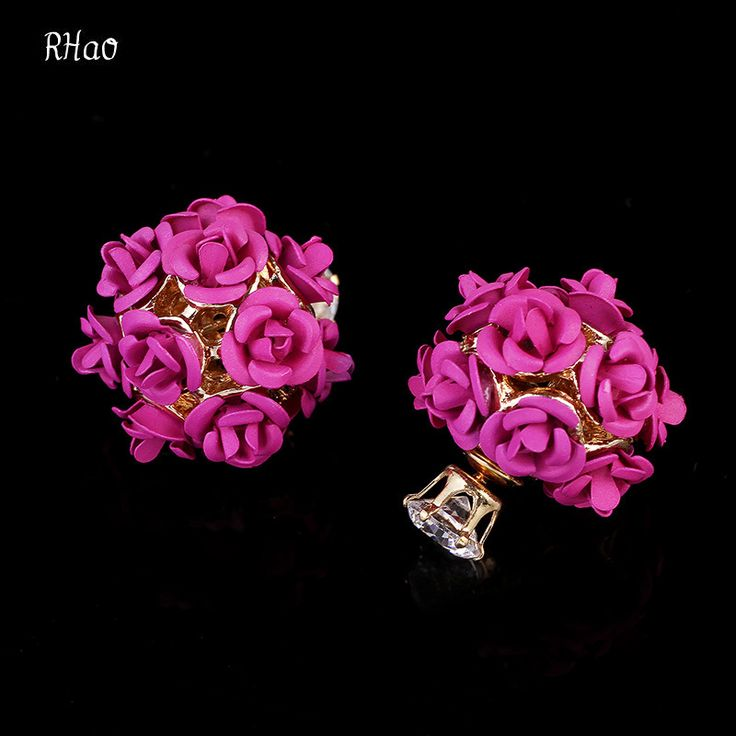 Trova più Orecchini con perno Informazioni su Elegante rhao double sided usura temperamento strass rose fiori orecchini con perno per le donne del partito monili di cerimonia nuziale accessori, Alta Qualità flower rhinestone earrings, Cina earings pearls Fornitori, A buon prezzo flower silver earrings da Fiona Jin Jewelry Store su Aliexpress.com