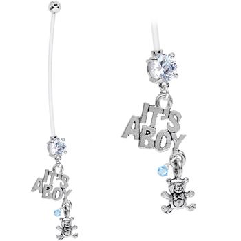 Clear Cubic Zirconia It's a Boy and Teddy Bear Pregnancy Belly Ring | Body Candy Body Jewelry