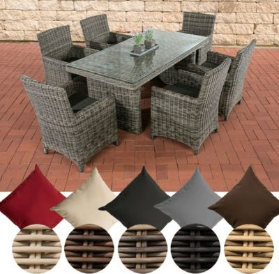 Poly-Rattan Sitzgruppe FONTANA, grau-meliert, (6 Stühle mit Tisch 180 x 90 cm) INKL. bequemen Sitzkissen, Premiumqualität: 5 mm Rund-Rattan Jetzt bestellen unter: https://moebel.ladendirekt.de/garten/gartenmoebel/gartenmoebel-set/?uid=7ed709f1-53bd-5e25-bfe2-9cf3dd41382f&utm_source=pinterest&utm_medium=pin&utm_campaign=boards #garten #gartenmoebel #gartenmoebelset