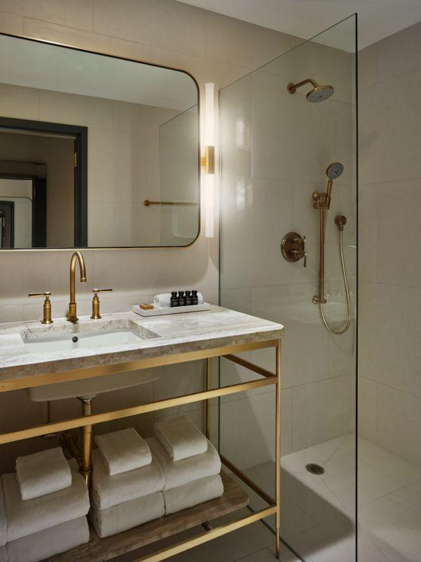 brass bathroom fixtures.