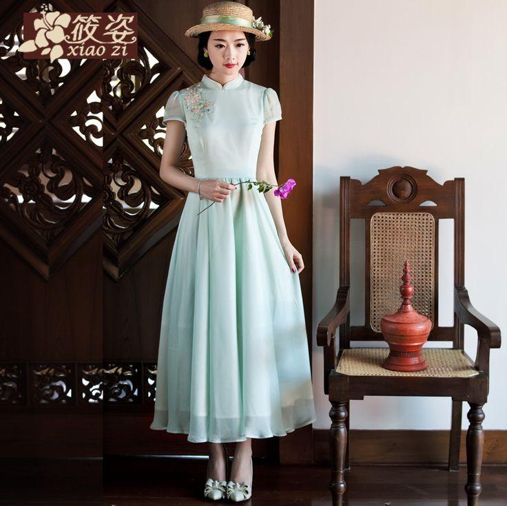 Xiao Zichun primăvară sălbatice și vara 2015 rochie nouă retro guler mic brodate fost rochie subțire cu mânecă scurtă