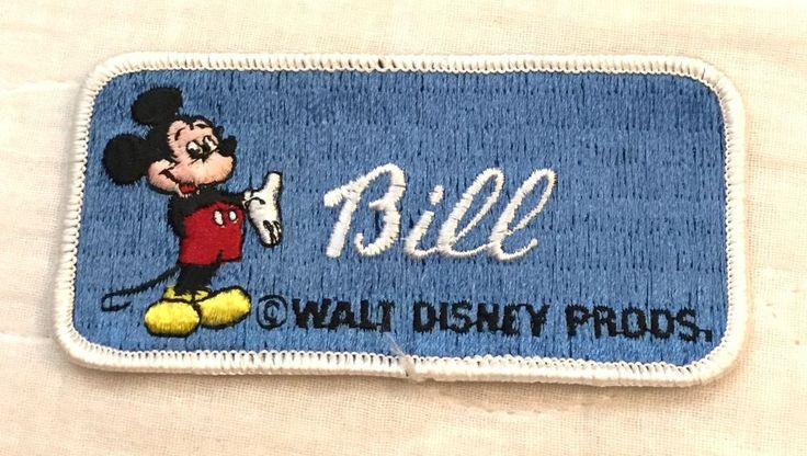"""Vintage Walt Disney Productions Mickey Mouse Embroidered Name Patch """"BILL"""" #Disney"""