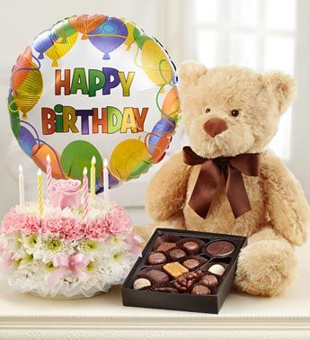 Ultimate Birthday Bundle™ - What's a better birthday gift than combining flowers with chocolates and a stuffed plush!?! #birthdayflowers #flowercake #happybirthday