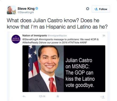 """White, Anti-Immigrant Congressman Steve King Says He's Just as Latino as Julian Castro 