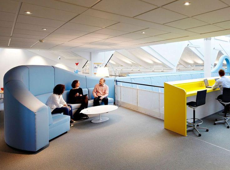 Office Workspace Creative LEGO PMD Interior In Denmark Blue Sofa With High Headboard DesignInterior Design InspirationOffice