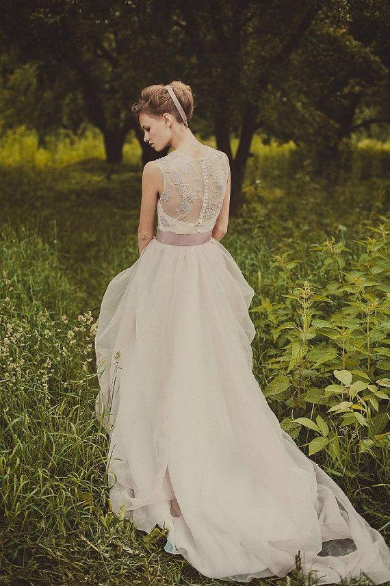 Abito da sposa viola soffici di luce / / a-line abito da sposa / / estate abito da sposa / semplice abito da sposa / abito da sposa modesto