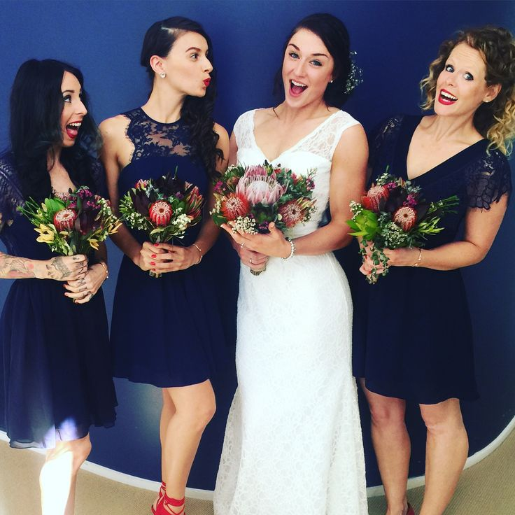 My stunning bridesmaids wearing Asos and my wedding dress from bridesmaidsdressingroom  Native bouquets looking on point