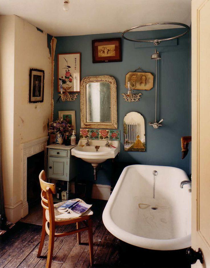 Photo Hugh Stewart Interior Bathroom Navy Walls Blue