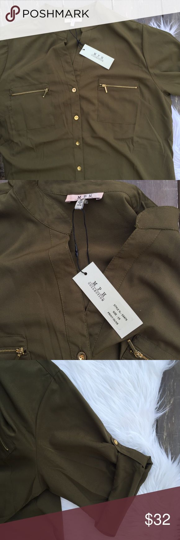 "🐪 NWT 🌵 MPH Collection Olive Green Tunic Dress NWT 🌵 MPH Collection Olive Green Tunic Dress 1X | CUTE olive/army green tunic dress with roll sleeves, zippered front pockets, and gold buttons down the front. Size 1X. New with tags. 38"" shoulder seam to hem. MPH Collection Dresses"