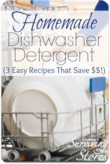 Want to make your own dishwasher detergent?  It is so much less expensive and there are many different ways to make it!