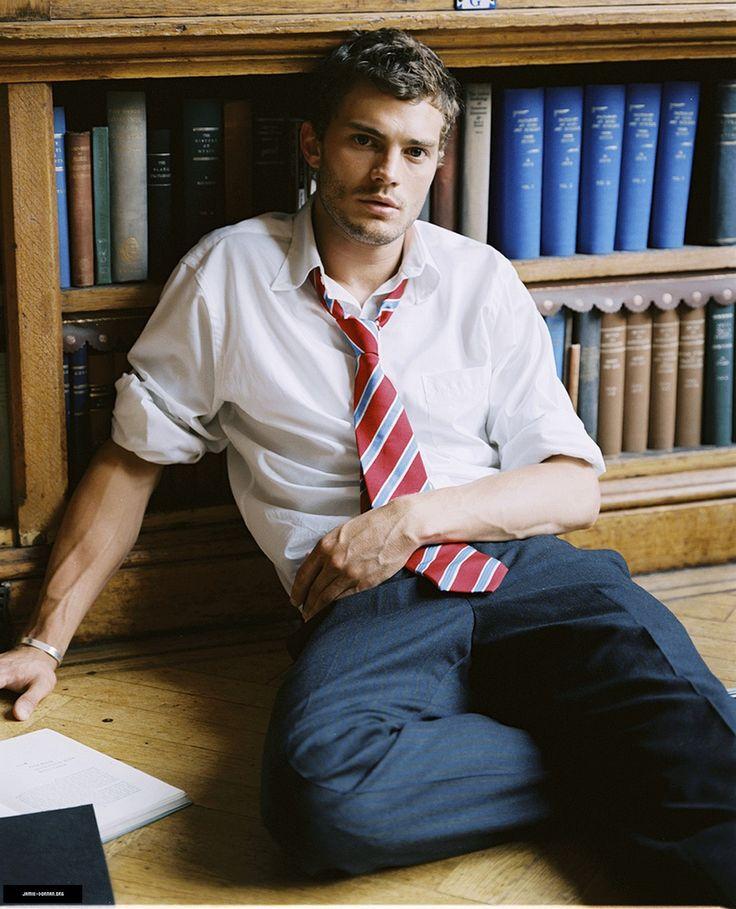 Jamie Dornan in a library. Hot.