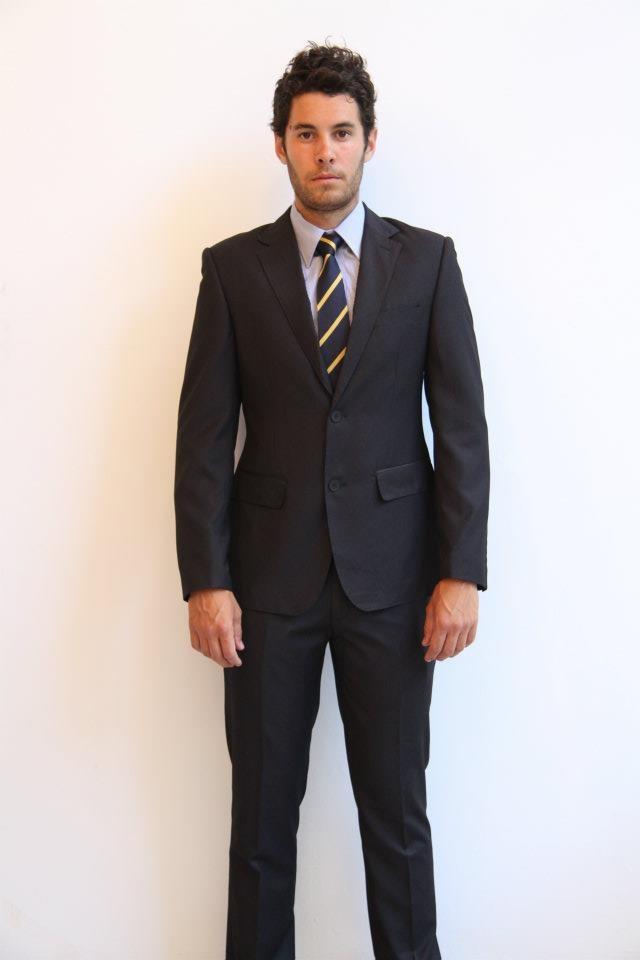 SuitCo slim shirt- $79  SuitCo Oxford slim tie- $49  Charcoal Herringbone SuitCo slim suit- $399
