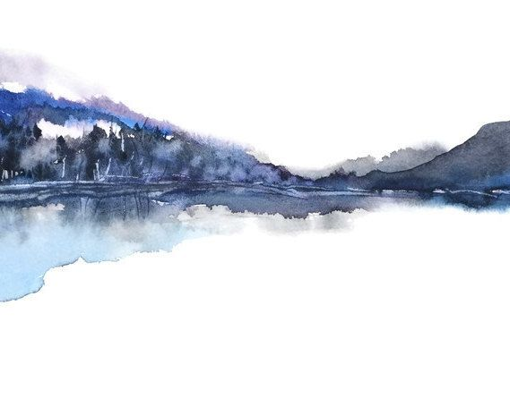 Large Painting Print Landscape, Watercolor Painting Abstract, Blue Black White Grey Art Modern Art Large Wall Decor Print, Mountain View Art