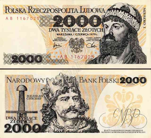 1974 series Polish 2000-złoty banknote, featuring King Mieszko I of Poland on the obverse side, and Bolesław I the Brave on the reverse side.