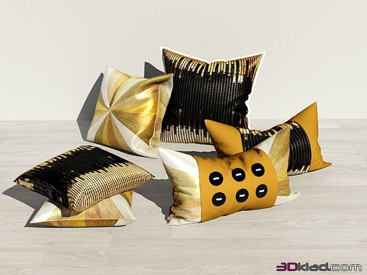 3d модель набор декоративных подушек Неизвестный
