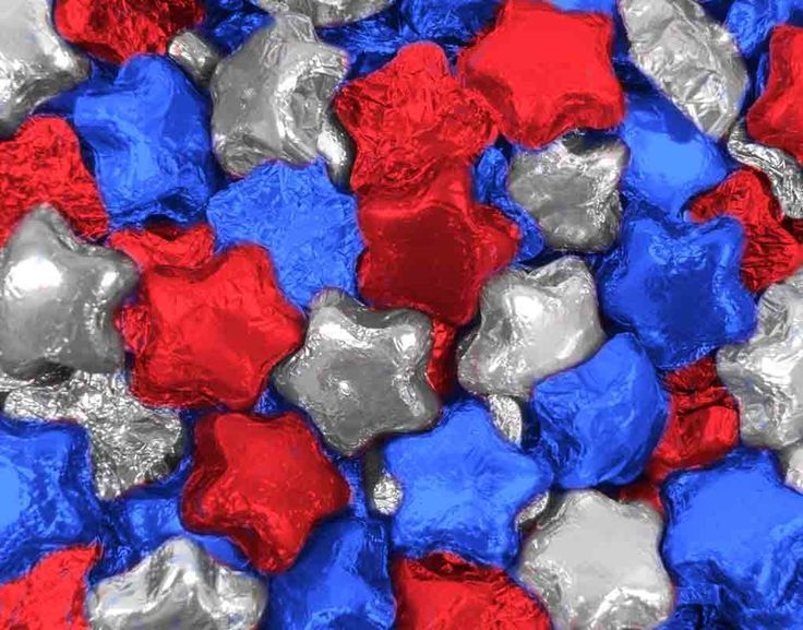 Red + Blue + Silver Madelaine Milk Chocolate Stars - Bulk Candy - Patriotic Candy - Memorial Day + Labor Day + Independence Day #bulkchocolate