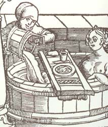 """So after looking at a bunch of pictures of people bathing in the middle ages, a vast majority of them have boards across the tub for food and games. And I am seriously upset bath snacks are not a thing anymore. Woodcut from Brunschwig, Buch zu Distillieren (1500)"""
