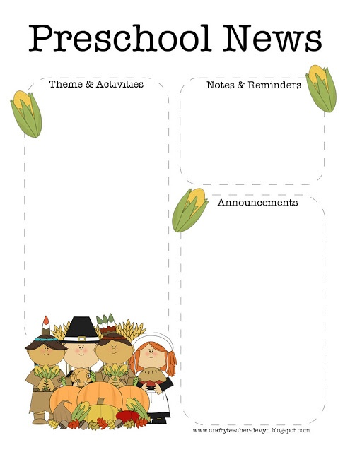November, Thanksgiving Preschool Newsletter Template | The Crafty Teacher