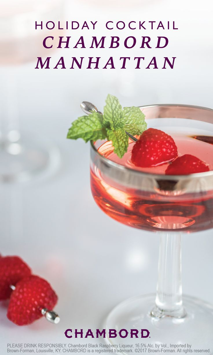 Get ready for holiday entertaining in the most delicious way—by making this Chambord Manhattan cocktail as your signature party drink. Chambord liqueur, bourbon, bitters, and the garnish of your choice is all you'll need to make this drink for your party guests.