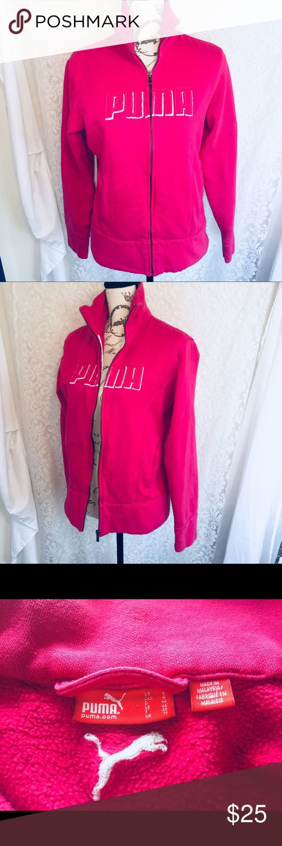 "Puma sweatshirt size large Awesome pink  women's Puma Sweatshirt in a size Large with the length at 24"".  Very pretty bright pink.  Zip up sweatshirt 🌸🌸🌸 Tops Sweatshirts & Hoodies"