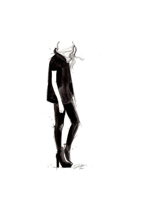 Original Aquarell und Feder-Mode-Illustration von Jessica Durrant, mit dem Titel schwarz auf schwarz drucken