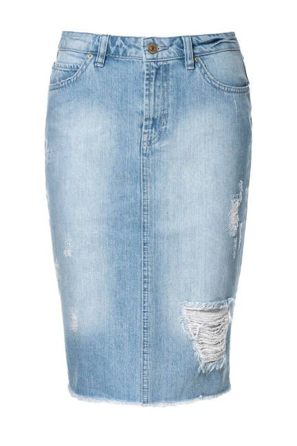 We're into the distressed denim pencil skirt