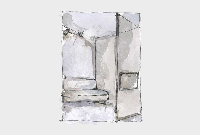 Sleeping area. Sketch. Mixed media.