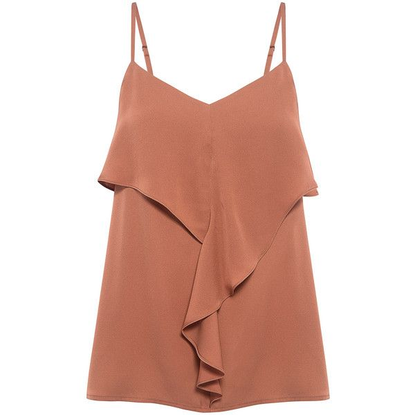 Theory - Silk Ruffle Camisole found on Polyvore featuring tops, ifchic, flutter-sleeve top, v neck cami, brown camisole, silk camisole tops and flounce top