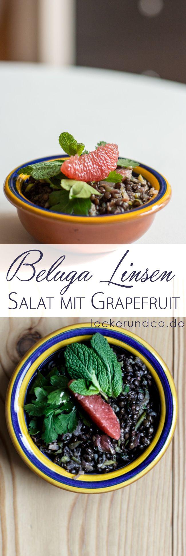 Beluga Linsen Salat mit Grapefruit und Koriander