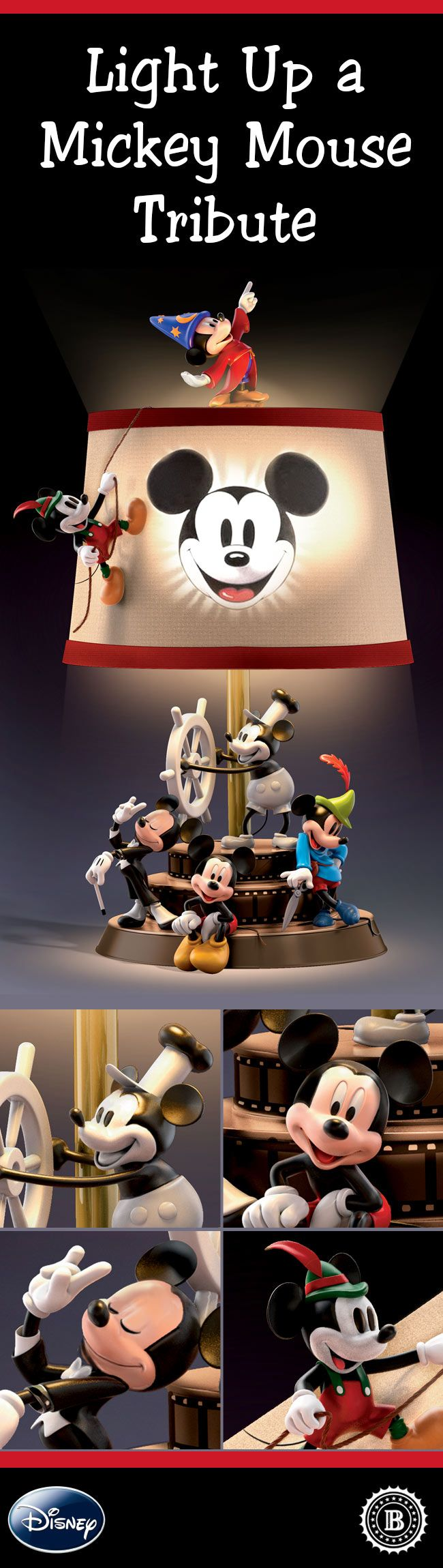 Shine new light on Mickey Mouse's fun-filled adventures through the years. This magical sculptural table lamp features 9 hand-painted Mickey characters from throughout Disney history, along with iconic artwork on the fabric shade.